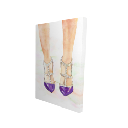 Canvas 24 x 36 - 3D - Purple studded high heels