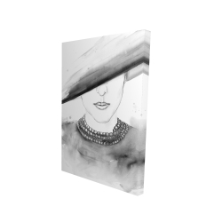 Canvas 24 x 36 - 3D - Mysterious lady with a hat