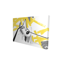 Canvas 24 x 36 - 3D - Woman with yellow line