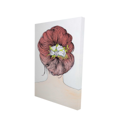 Canvas 24 x 36 - 3D - Lady with flowers in her hair