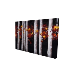 Canvas 24 x 36 - 3D - White trees with orange leaves
