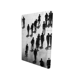 Canvas 24 x 36 - 3D - Silhouettes of people on the street