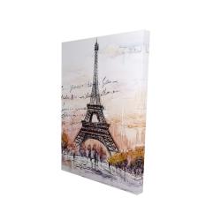 Canvas 24 x 36 - 3D - Eiffel tower sketch with an handwritten message