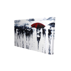 Canvas 24 x 36 - 3D - Abstract silhouettes under the rain