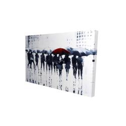 Canvas 24 x 36 - 3D - Silhouettes walking in the rain