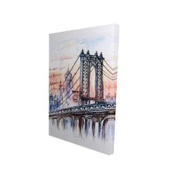 Toile 24 x 36 - 3D - Esquisse d'un pont avec message écrit à la main
