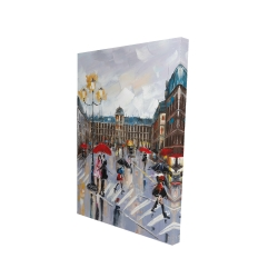 Canvas 24 x 36 - 3D - People walking across the street by a rainy day