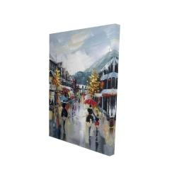 Toile 24 x 36 - 3D - Passants dans la rue par une pluvieuse journée d'automne