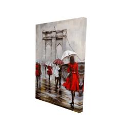 Canvas 24 x 36 - 3D - Walk on the brooklyn bridge