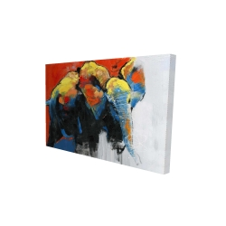 Canvas 24 x 36 - 3D - Colorful abstract moving elephant