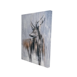 Canvas 24 x 36 - 3D - Deer in the forest by a rainy day