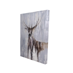 Canvas 24 x 36 - 3D - Winter abstract deer