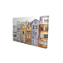 Canvas 24 x 36 - 3D - Amsterdam houses hotel