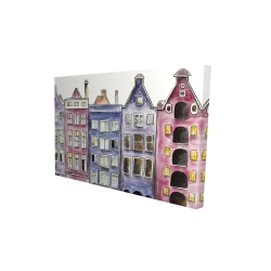 Canvas 24 x 36 - 3D - Old historic houses amsterdam