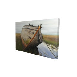 Canvas 24 x 36 - 3D - Old abandoned boat in a swamp