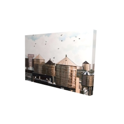 Canvas 24 x 36 - 3D - Water towers