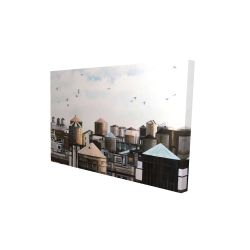 Canvas 24 x 36 - 3D - Water towers with birds