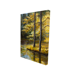 Canvas 24 x 36 - 3D - Fall landscape by the water