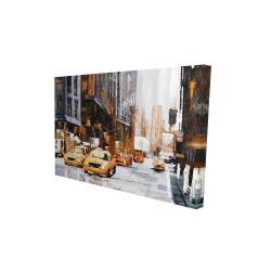 Toile 24 x 36 - 3D - Rue d'une grande ville et taxis jaunes
