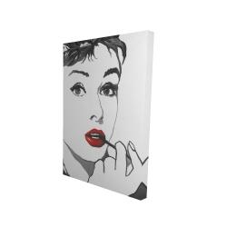 Canvas 24 x 36 - 3D - Audrey hepburn outline style