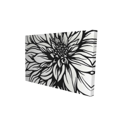 Canvas 24 x 36 - 3D - Dahlia flower outline style