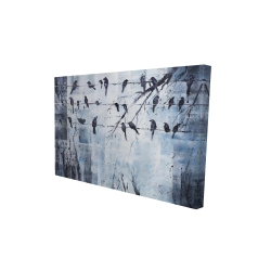 Canvas 24 x 36 - 3D - Abstract birds on electric wire