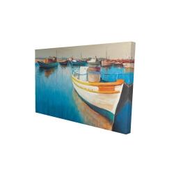 Canvas 24 x 36 - 3D - Fishing boats at the marina