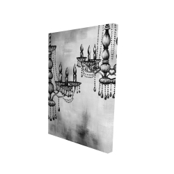 Canvas 24 x 36 - 3D - Two crystal chandeliers