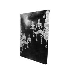 Canvas 24 x 36 - 3D - White chandeliers