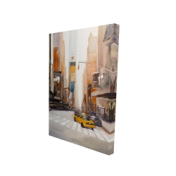 Canvas 24 x 36 - 3D - Calm street with taxi
