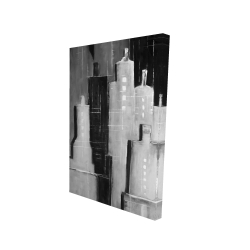 Canvas 24 x 36 - 3D - Abstract black and white cityscape