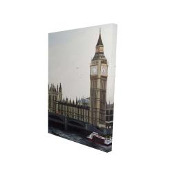 Canvas 24 x 36 - 3D - Big ben clock elizabeth tower in london