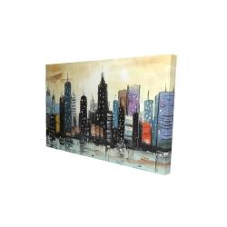 Canvas 24 x 36 - 3D - Skyline on abstract cityscape