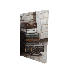 Canvas 24 x 36 - 3D - Four old traveling suitcases