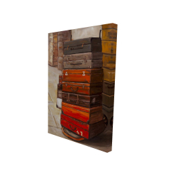 Canvas 24 x 36 - 3D - Old traveling suitcases