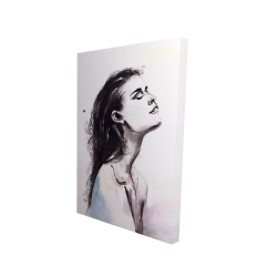 Canvas 24 x 36 - 3D - Watercolor beautiful woman with dark hair