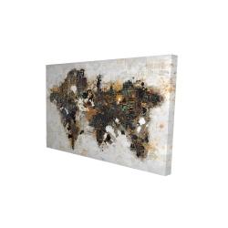 Toile 24 x 36 - 3D - Carte du monde abstraite et typographie