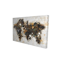 Canvas 24 x 36 - 3D - Abstract world map with typography