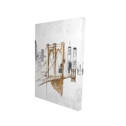 Canvas 24 x 36 - 3D - Brooklyn bridge blurry sketch