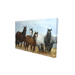 Canvas 24 x 36 - 3D - Horses in the meadow by the sun