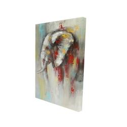 Toile 24 x 36 - 3D - éléphant abstrait avec éclats de peinture