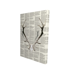 Canvas 24 x 36 - 3D - Deer horns on newspaper