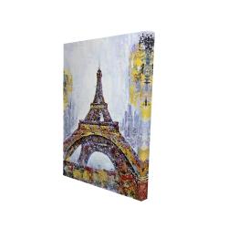 Toile 24 x 36 - 3D - Tour eiffel abstraite avec éclats de peinture