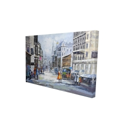 Canvas 24 x 36 - 3D - Busy street by a cloudy day