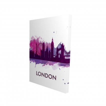 Purple silhouette of london
