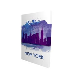 Canvas 24 x 36 - 3D - Blue silhouette of new york city
