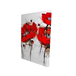 Canvas 24 x 36 - 3D - Red poppies with texture