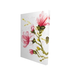 Canvas 24 x 36 - 3D - Watercolor magnolia flowers