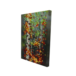 Canvas 24 x 36 - 3D - Colorful dotted leaves birches