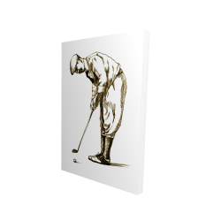 Canvas 24 x 36 - 3D - Illustration of a concentrated golfer